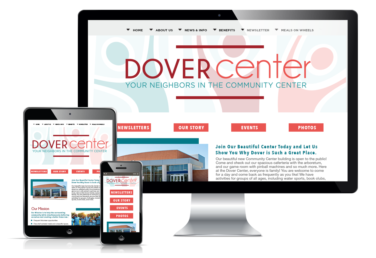 Responsive website display for Dover Center